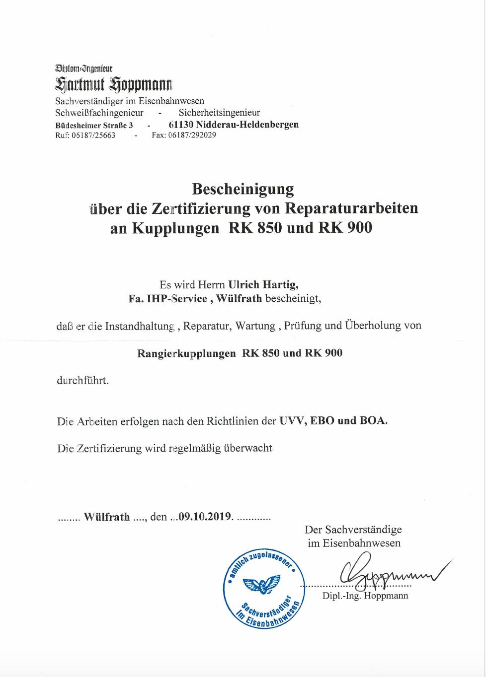Zertifizierung Rangierkupplungen