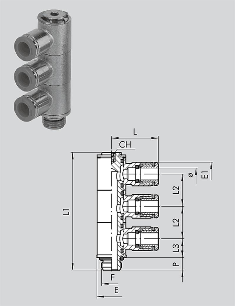 Dreifach-L-Schwenkverschraubung  RL52